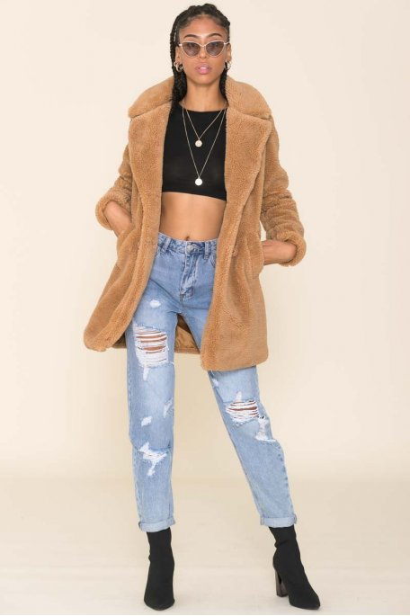 Manteau Teddy camel boutons
