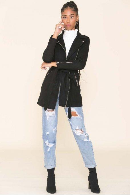 Veste longue noire suédine style perfecto
