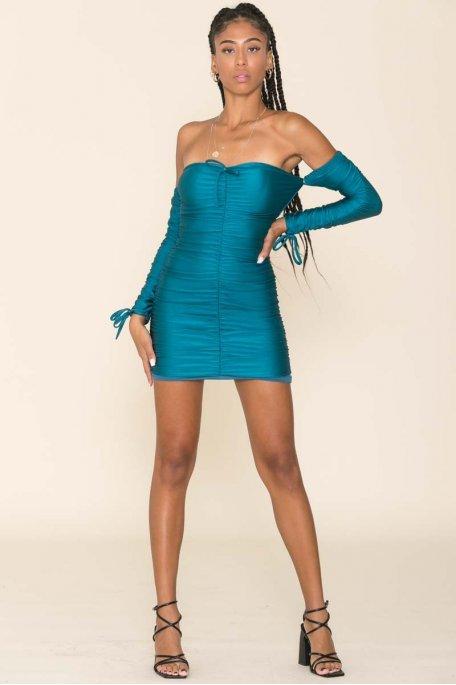 Robe courte bustier froncée bleu