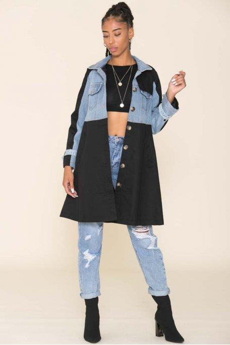 Trench-coat bi-matière noir et jean