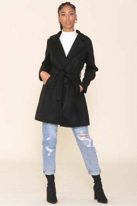 Manteau mi-long ceinturé noir