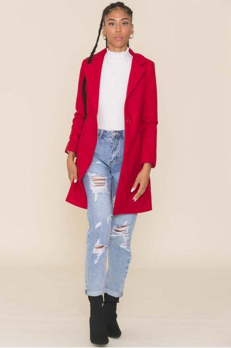 Manteau rouge long citadin