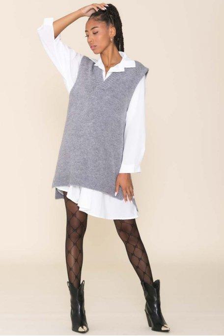 Robe pull sans manche asymétrique gris