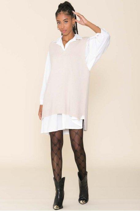 Robe pull sans manche asymétrique beige