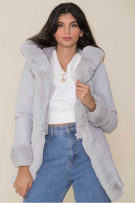 Manteau en suédine et fausse fourrure gris