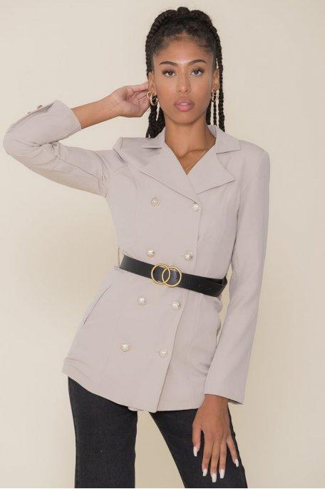 Veste tailleur beige à ceinture