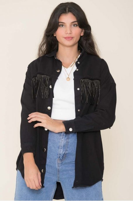 Veste style chemise en jean noire à frange strass