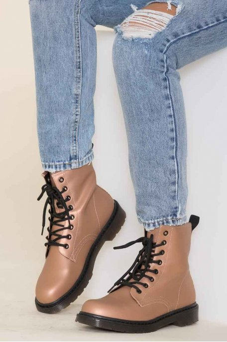 Bottines marron lacets militaires