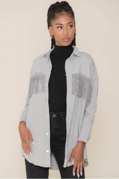 Veste style chemise en jean grise à frange strass