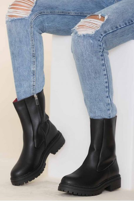 Bottines mi mollet noir