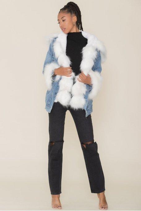 Veste en jean déchirée doublée fausse fourrure à capuche