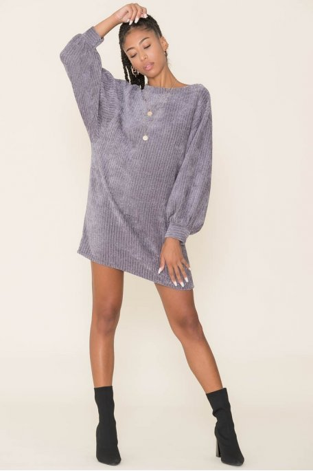 Robe pull maille chenille gris