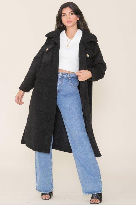 Veste longue épaisse en feutrine noire