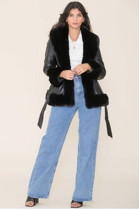 Manteau simili cuir fausse fourrure noir