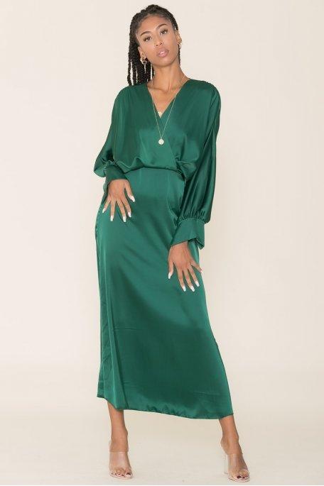 Robe longue ample satinée vert