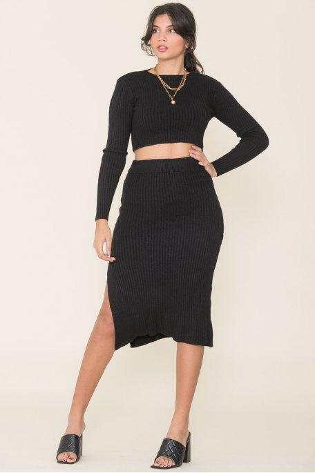 Ensemble croptop jupe côtelé noir