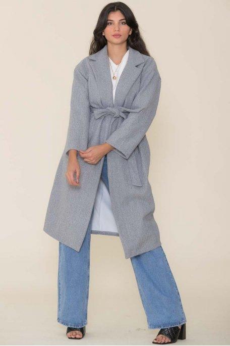Manteau long ceinturé gris