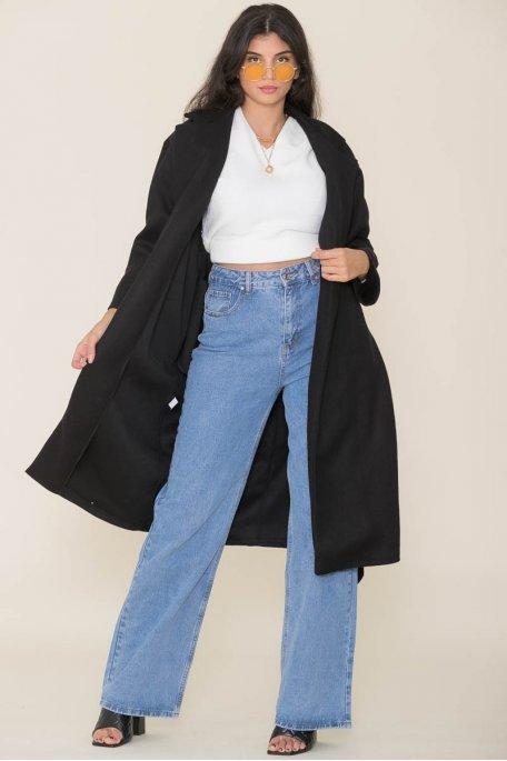 Manteau long ceinturé noir