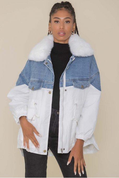 Veste style parka bi-matière fourrure blanc