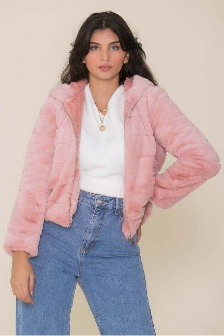 Veste fausse fourrure à capuche rose