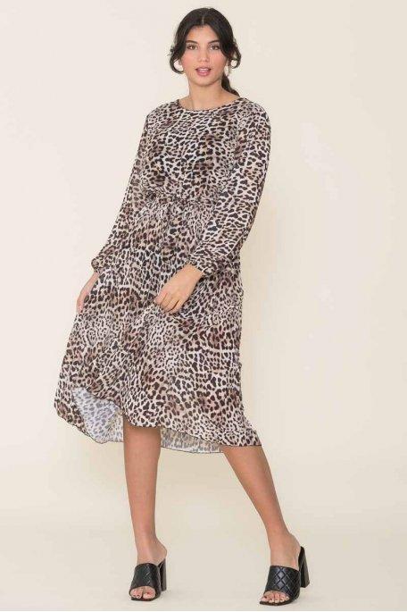 Robe longue fluide léopard