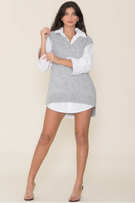 Robe pull sans manches col V gris