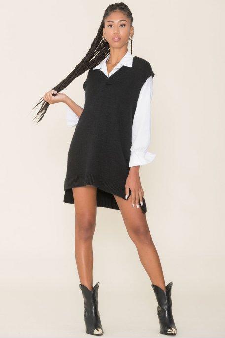 Robe pull sans manche asymétrique noir