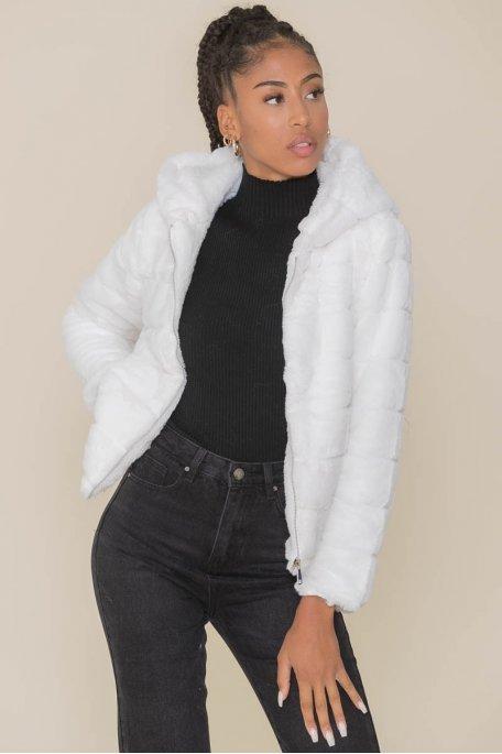 Veste fausse fourrure à capuche blanche