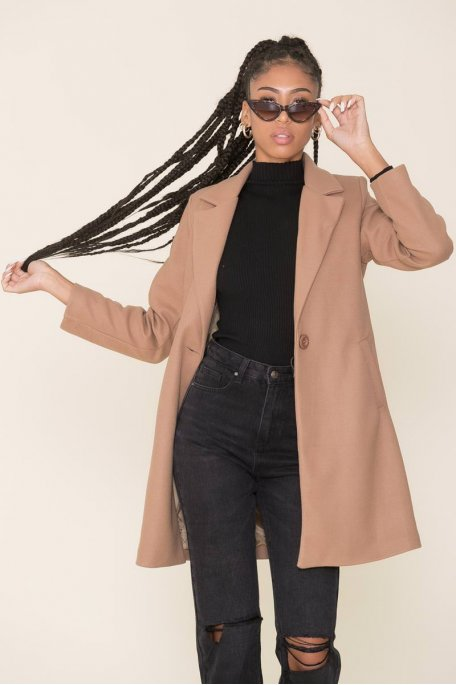 Manteau mi-long droit camel