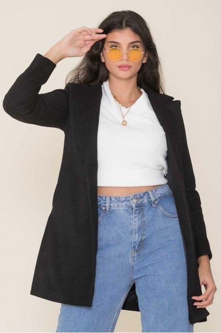Manteau mi-long droit noir