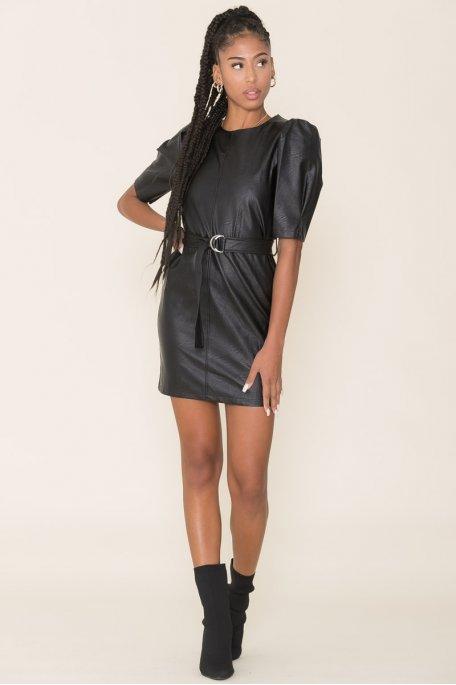 Robe simili cuir ceinturée noir