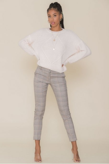 Pantalon tailleur à carreaux beige