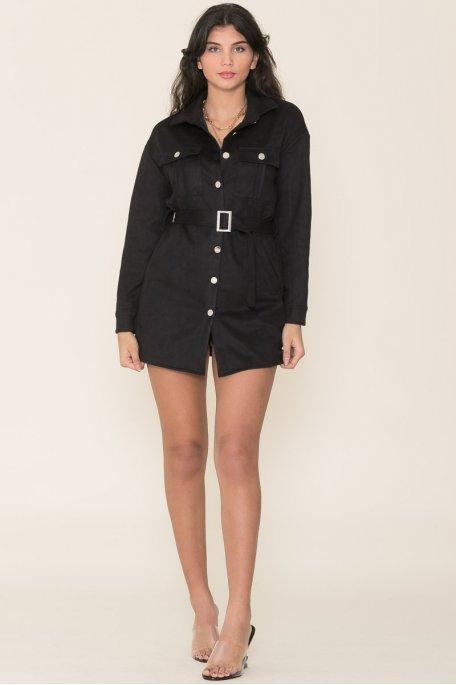 Robe chemise effet daim noir