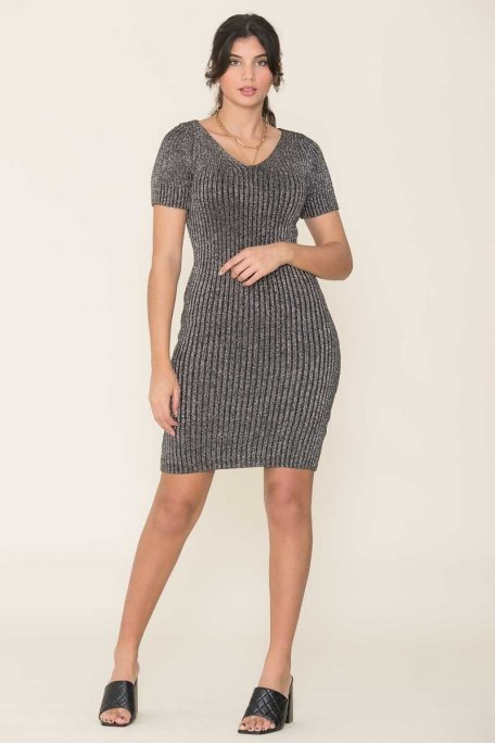 Robe pull manches courtes gris