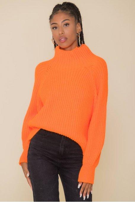 Pull en maille col montant orange fluo