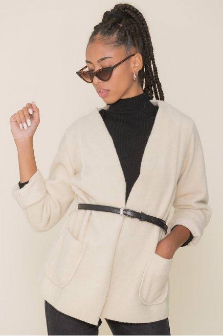 Veste en feutrine ceinture beige