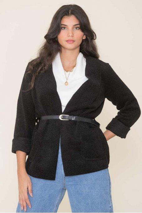Veste en feutrine ceinture noir