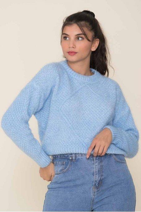 Pull chenille losange bleu clair