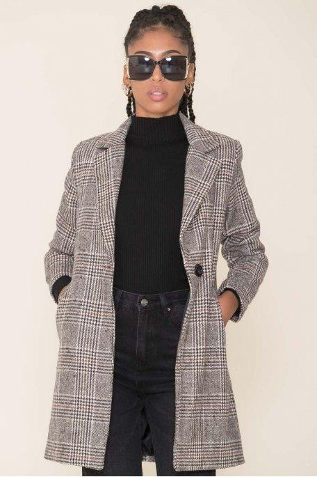 Manteau à carreaux taupe