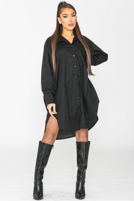 Chemise longue boutonnée noir