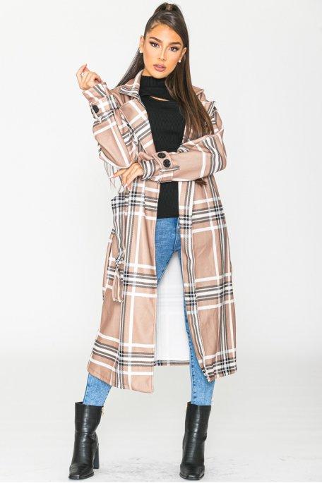 Manteau long à carreaux ceinturé taupe