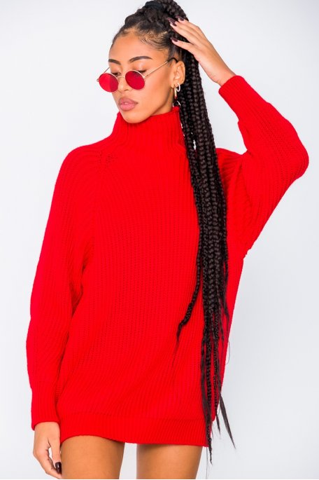 Robe pull en maille col montant rouge
