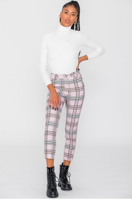 Pantalon carreaux rose
