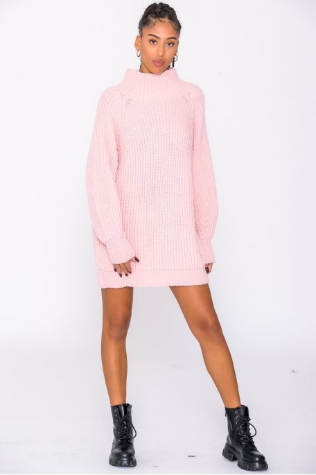 Robe pull en maille col montant rose
