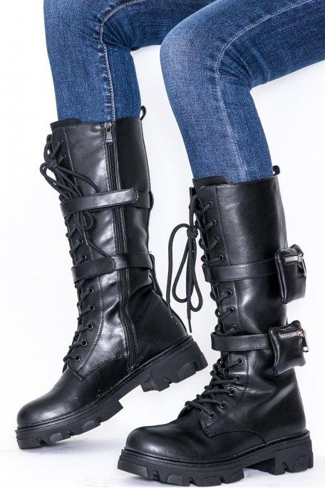 Bottes à pochettes noir