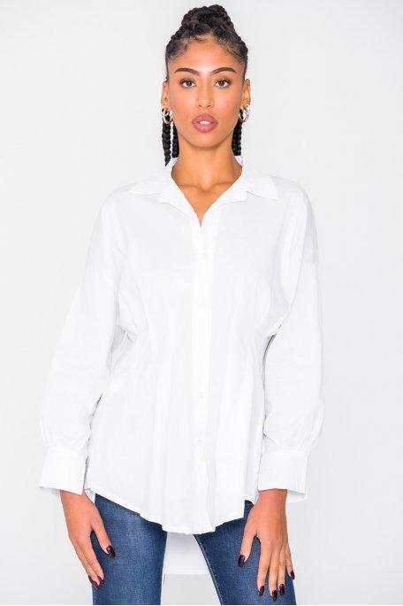 Chemise longue cintrée blanc