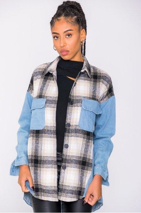 Chemise à carreaux bi-matière jean