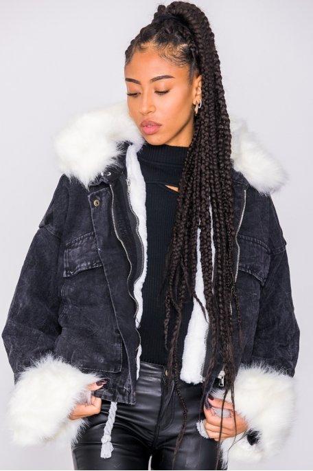 Veste en jean noir doublée fausse fourrure blanche
