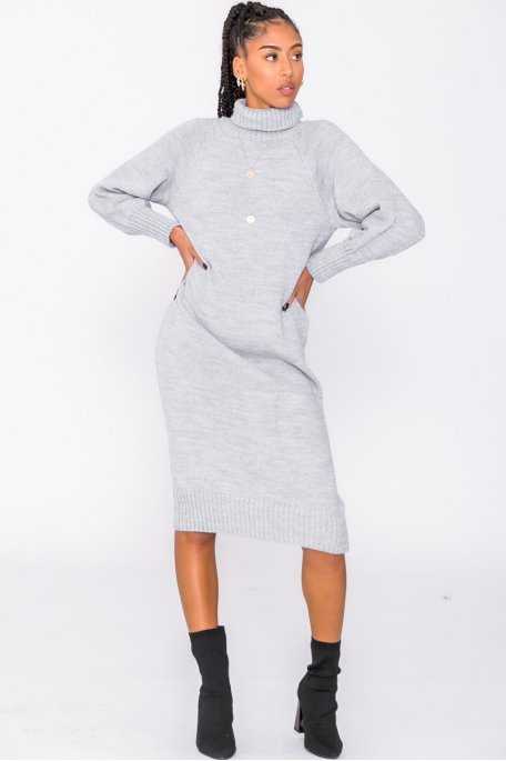 Robe pull longue col roulé gris