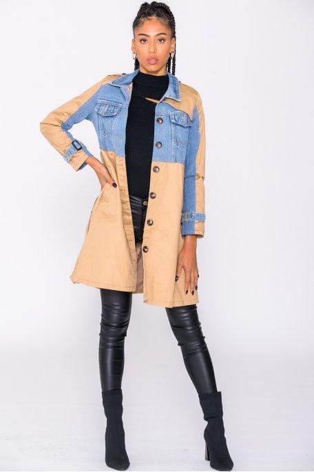 Trench-coat bi-matière camel et jean
